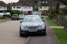 car blocking pavement